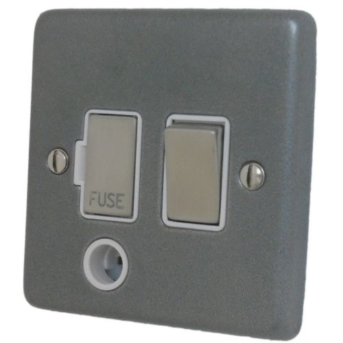 G&H CP256 Standard Plate Pewter 1 Gang Fused Spur 13A Switched & Flex Outlet